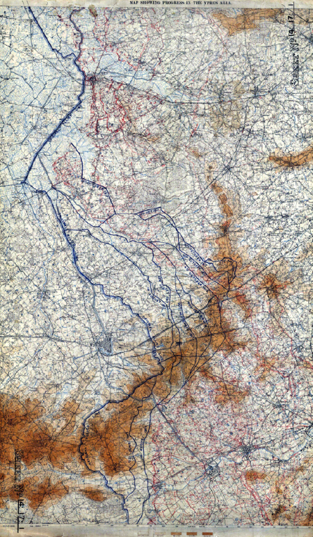 Marked in blue, the British advance at Ypres from July to November 1917